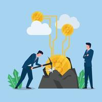 Man mining the crypto coin with pickaxe while others oversee metaphor of mining. vector