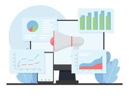 Ilustración de marketing digital plana. vector