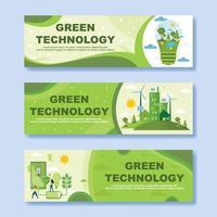 banner de tecnología verde vector