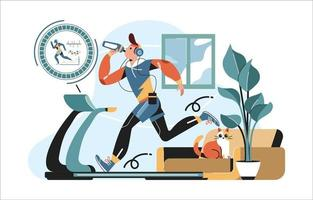 Doing Treadmill in a Cozy House vector