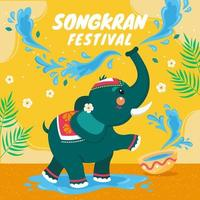 Elephant Splash Water Everywhere Songkran vector