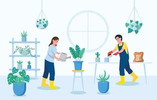 People Gardening at Home vector