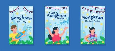 Songkran Festival Holiday Banner Set vector