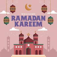 majestuosa mezquita púrpura durante ramadán vector