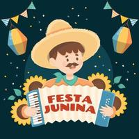 A Young Man Wearing Sombrero Playing Accordion vector