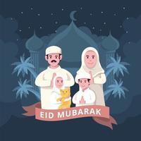 Family Celebrating Eid Mubarak vector