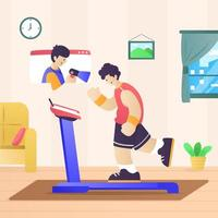Online Workout Coach Teleconference vector