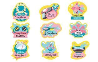 Set of Cute Sticker for Songkran Festival vector