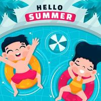 Happy Children Enjoying Summer in Swimming Pool vector