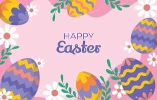Colorful Easter Egg Flat Background Design vector