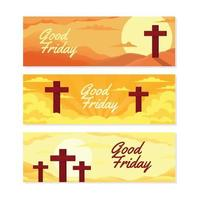 Good Friday Banner Set vector