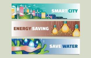 Eco-Green Technology Banner Set vector