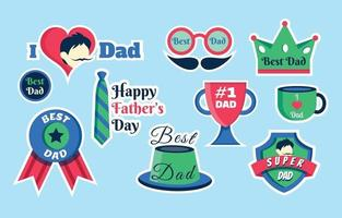 Father's Day Sticker Set vector