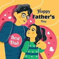 Father's Day Template Where Father Hug His Child vector