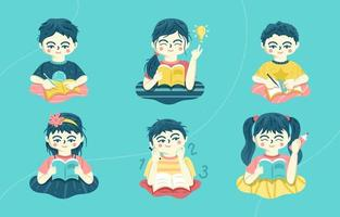 Blue Children Studying Icon vector