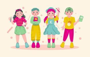 los niños estudian con alegría vector