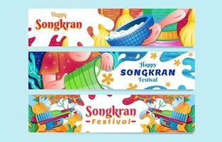Happy Songkran Water Splashing Festival Banner Set vector