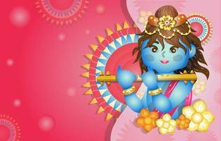 Happy Vishu Background with Krishna vector