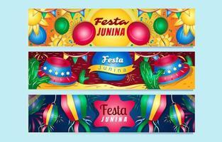 Festa Junina Banner Set vector