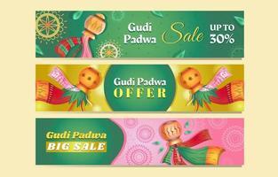 Gudi Padwa Sale Banner Set vector
