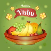 Happy Vishu with Fruits and Flowers vector
