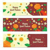 Gudi Padwa Celebration Banner Set vector