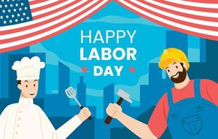 Labor Day Background with Building Silhouettes vector