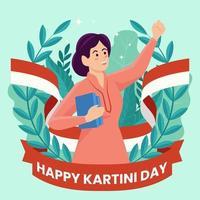 día de kartini con mujeres cargando libros vector