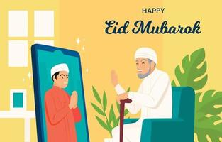 Concept of Virtual Eid Mubarak with Grandfather vector