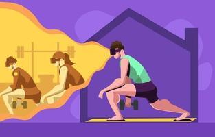 gimnasio de realidad virtual en casa vector