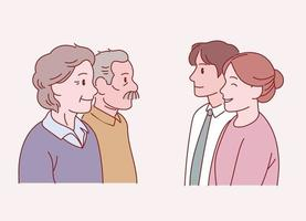 Older parents and a young couple stand facing each other. Hand drawn style vector design illustrations.