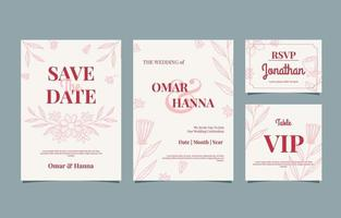 Handdrawn Floral Wedding Set vector