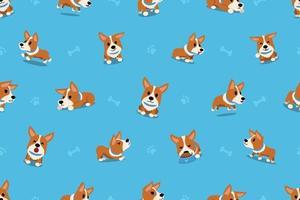 vector, caricatura, carácter, corgi, perro, seamless, patrón