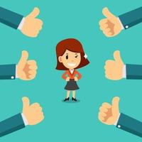 Vector cartoon happy businesswoman with many thumbs up hands