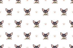 Vector cartoon character chihuahua dog seamless pattern