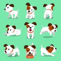 personaje de dibujos animados jack russell terrier poses de perro vector