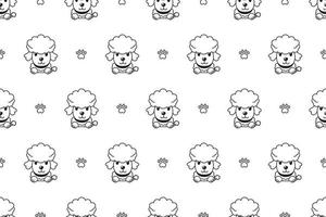 Vector cartoon character poodle dog seamless pattern
