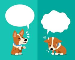 Vector cartoon corgi dog expressing different emotions with speech bubbles