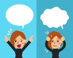 Vector cartoon woman expressing different emotions with speech bubbles