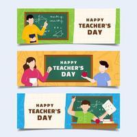 Flat Happy Teacher's Day Banner Set vector