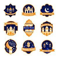 Blue and Orange Ramadan Badge vector