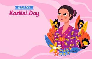 Kartini Near Flowers and Pink Patterns Backgroun vector