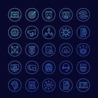 iconos de seo y marketing digital, conjunto lineal vector