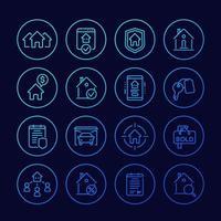 iconos de línea inmobiliaria, casas en alquiler, venta, hipotecas y seguros vector