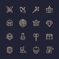 Game line icons set, RPG ui, fantasy, knight, magic wand, swords, bow, castle, helmet, armor vector