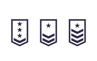 Military rank, army epaulettes vector set