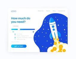 Loan service, website design, vector template