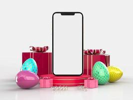 3D rendering of blank phone screen with Easter decorations on white background photo