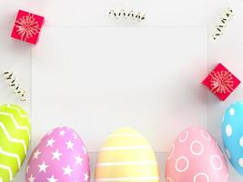 Easter holiday creative background with card and eggs photo