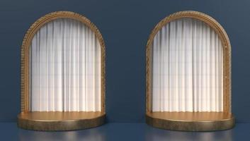 3D rendering of gold archways with curtains photo